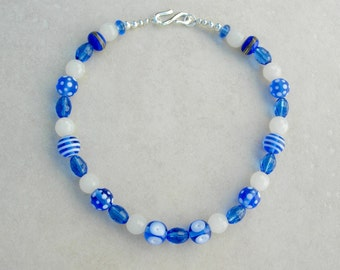 SALE - 50% off, Blue & White Choker, Handmade Lampwork Glass Beads, Faceted Blue and Opaque White Glass Beads, Necklace by SandraDesigns