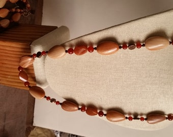 RED BANDED JASPER Necklace with Carnelian Agate and Copper Celtic Knot Beads. 28 Inches. Copper Clasp. Peach Color Twist Oval Beads.