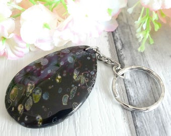 Agate Gemstone Keychain, Keyring, Healing Crystal, Best Keychain, Agate Gemstone, Agate Slice, Girlfriend Gifts, Gift for Women, Best Gifts