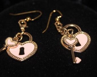 Heart and Key Dangle Earrings Heart Key Earrings Pink Heart Earrings