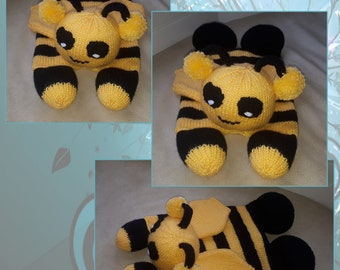 Hand knitted Bumble Bee Pyjama Case