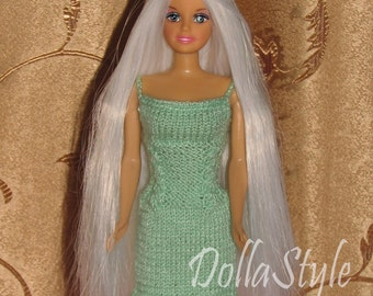 Crochet Barbie Clothes. Dress for Barbie Doll, outfit (1/6 Scale)