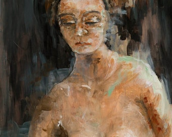 Nude Portrait Painting Art Print, Large Art Print, 5 x 7