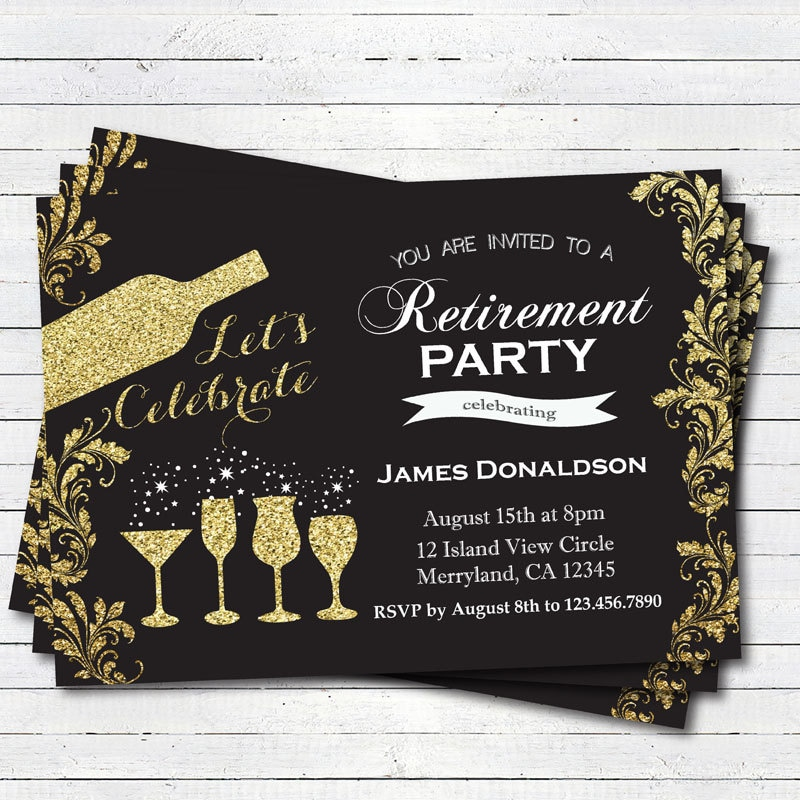 Retirement Party Invitation Glam Black And Gold Retirement