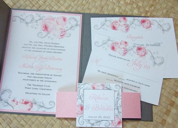 Elegant Pocket Wedding Invitation Pink and Gray Wedding
