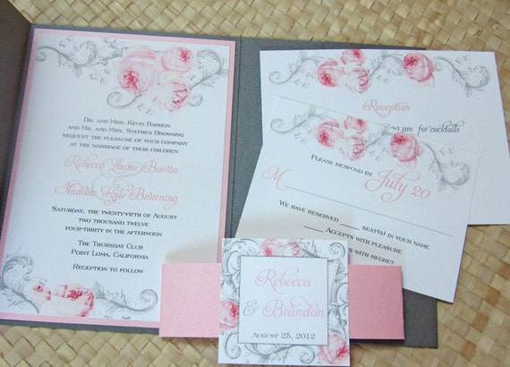 Turquoise And Pink Wedding Invitations: Elegant Pocket Wedding Invitation Pink And Gray Wedding