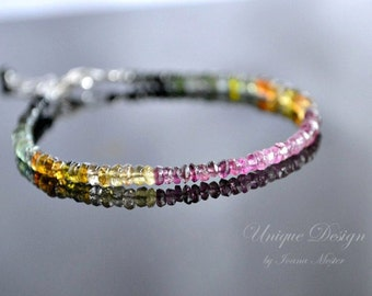 Watermelon tourmaline bracelet, sterling silver bracelet, stackable bracelet, tourmaline jewelry, October birthstone
