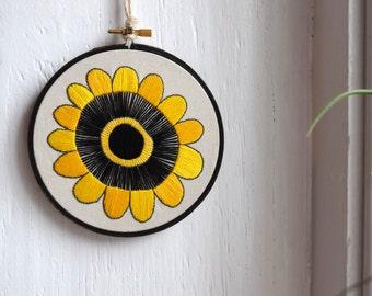 Hand Embroidered Hoop Art Mid Century Modern Flower Design