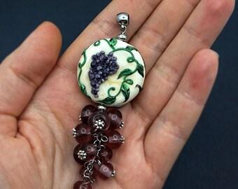 Grapes Glass Pendant, lampwork beads, murano glass, flamework, glass jewelry, handmade jewelry, berries, fruit, violet, ivory, vine, summer