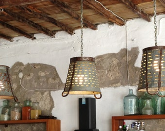 Rustic Metal Olive bucket basket lamp,Pendant Lighting,rustic industrial lighting ,ceiling light,Lightshade