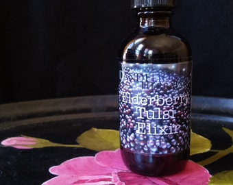 Elderberry Tulsi Elixir: Delicious Remedy for Immune Support and Relaxation with Yarrow & Self-Heal Flower Essence and Local Honey