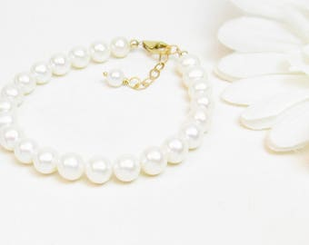 6.5mm Real Pearl Bracelet with Gold-Filled Clasp - Bridesmaid Pearl Bracelet - White Pearl Bracelet - Bridesmaid Gift - Round Pearl Bracelet