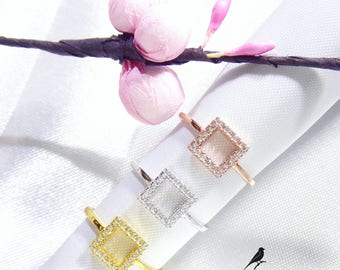 Square Ring Single Cz Gold Vermeil 925 Silver Rose