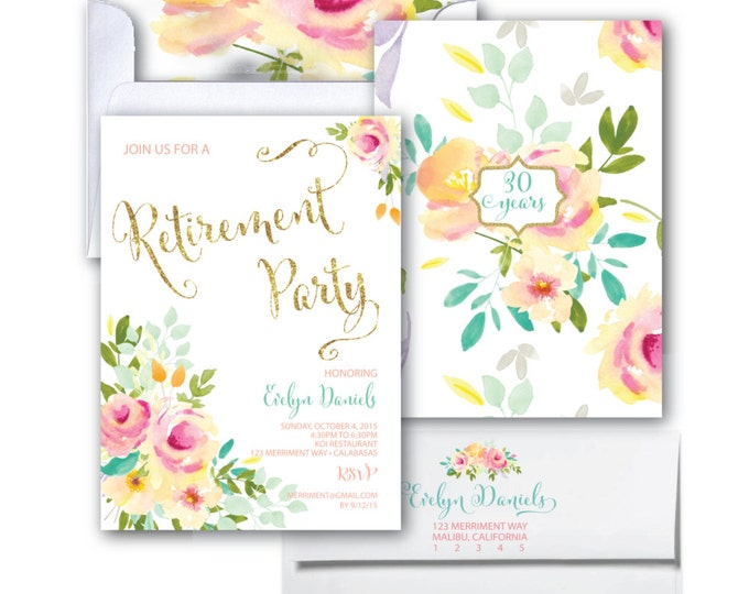 Retirement Party Invitation // Roses // Peonies // Peony // Cheers // Retired //  Pink // Gold Glitter // Yellow // MALIBU COLLECTION