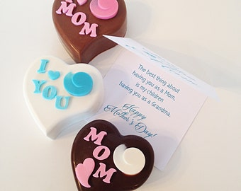 Mother's Day Gift - Chocolate Heart with Message Card - Personalize Chocolate Heart