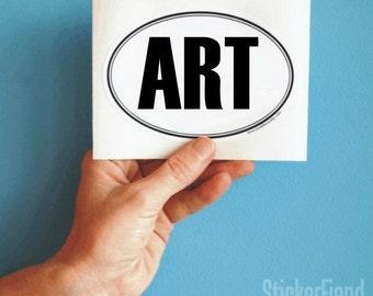 ART oval bumper sticker