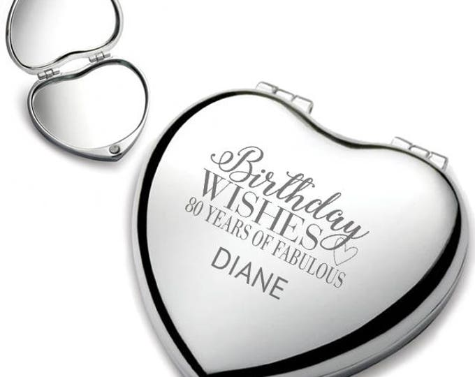 Personalised engraved 80TH BIRTHDAY heart shaped compact mirror birthday wishes gift idea, chrome plated - HEM-B80