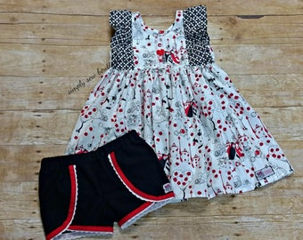 Girls Toddler Disney Alice In Wonderland flutter twirl TUNIC TOP  and shorts House of cards  18 24 2T 3T 4T 5T 6 6x