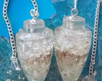 2 Large Orgone  Crystal QUARTZ Dowsing PENDULUMS With 2  Pouches, Divination, Orgonite