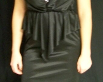 Vintage Black polyknit dress with sequin accent
