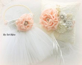 Ring Bearer Pillow, Flower Girl Basket,Coral,Ivory,Peach, Vintage Wedding,Elegant,Tutu Basket, Skirt, Pearls, Crystals, Lace, Gatsby Wedding