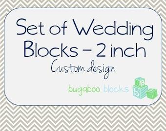 Wedding Mr. & Mrs. Blocks - Set of 3 (2 inch blocks) - Head Sweetheart Table Decoration - Centerpiece Accent