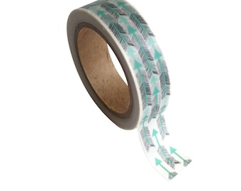 Washi tape with arrows - pretty masking tape-turquoise
