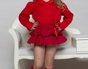 Girl's skirt, girl's ruffle skirt, handmade skirt, organic cotton Mathilde