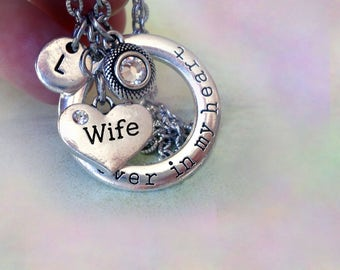 Wife Necklace, Forever in My Heart Personalized w-Letter Charm & Swarovski Birthstone Crystal, Wife Gift, Wife Birthday, Special Wife Gift