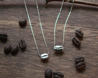 Coffee Necklace, Coffee Bean Necklace, Sterling Silver Coffee Bean Necklace, Coffee Lover Gift, Simple necklace, Dainty Necklace, Everyday