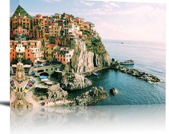Manarola Cinque Terre Italy Art Print Wall Decor Image - Canvas Stretched Framed