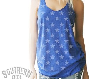 Stars Tank. Stars Tank Top. Stars Shirt. American Flag Clothing. Red White & Blue Tank. Patriotic Tank. 4th of July. Stars and Stripes.