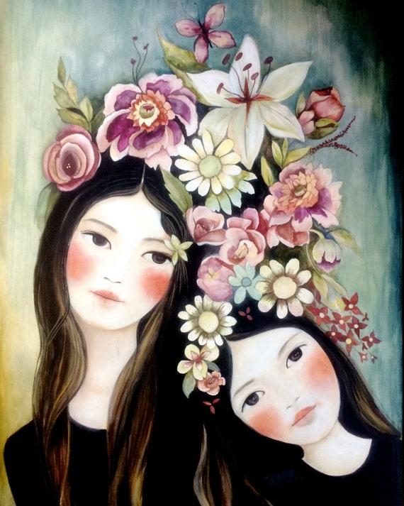 sisters floral art print gift idea