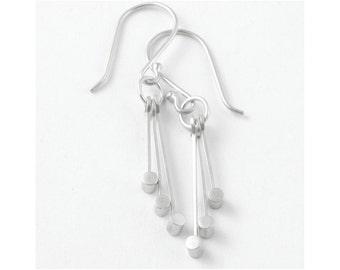 Dangle Earrings, Sterling Silver Earrings, Geometric Earrings, Circle Earrings, Geometric Jewelry, Galena Earrings