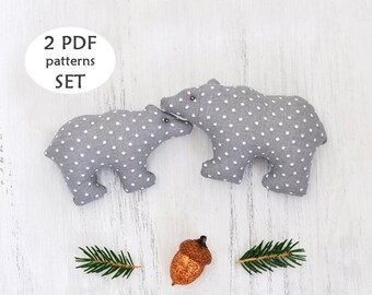 Polar Bear Sewing Pattern. Christmas Sewing Project. Polar Bear Pattern. Sewing Christmas Gift. Christmas Sewing Pattern. Christmas Ornament