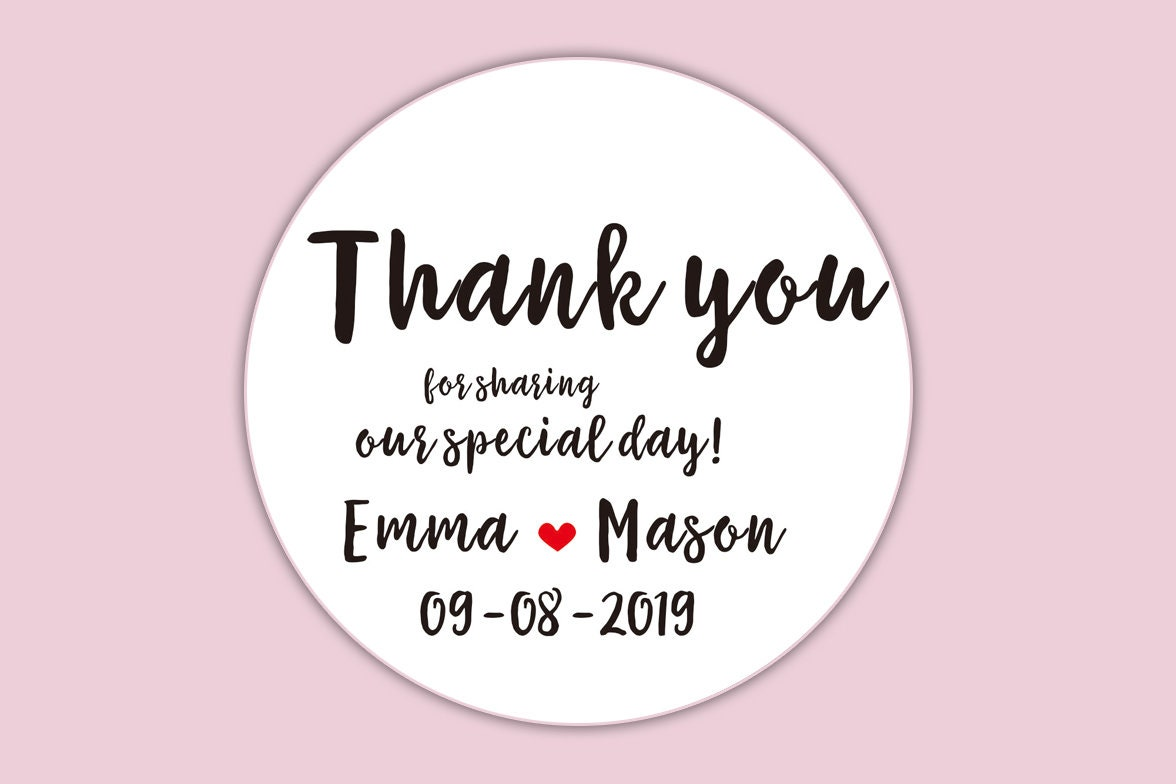 Wedding Favor Stickers, Thank You Stickers, Thank You Label ...