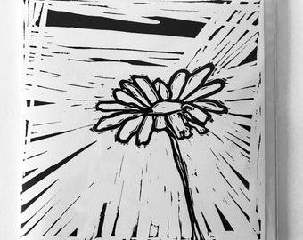 HAND PRINTED Linocut Flower Card