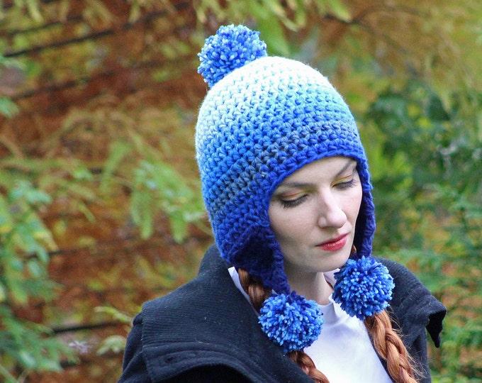 Blue Ombre Elf Earflap Hat Pom Pom Beanie Hat Crochet Handmade Gift for Him or Her