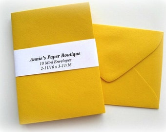 10 Mini Envelopes - Marigold Yellow -Card Making, Paper Crafting, Gift Cards, Tags, Souvenirs, Mementos, Notes, Gift Giving