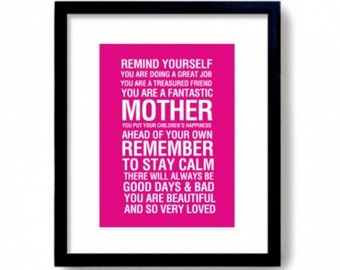 Motherhood Print, Mother Typographic Print Bus roll Mother Print Mom Art Print