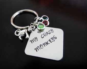 Love My Crazy Monkeys Mothers Day Gift Mom Personalized Birthstone Gift Handstamped Key Chain