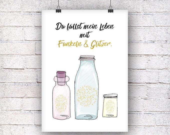Sparkle and glitter art print gift family art print, fine art print
