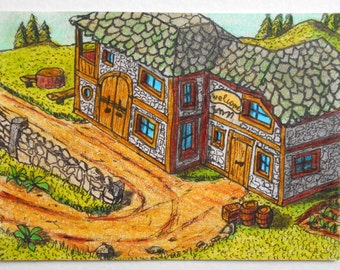 Original art aceo cottage drawing, collectable art card-ink and pencil drawing - 'Welcome Inn' 2.5 x 3.5 inches