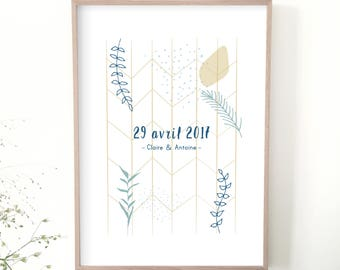 Customizable poster, gift wedding poster date, names, lovers, illustration, decoration, personalized gift, Valentine's day