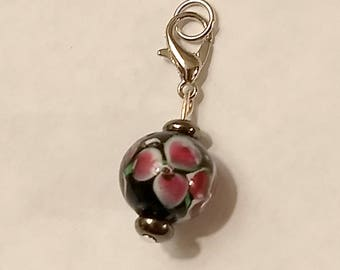 Glass Flower Hearing Aid Charm