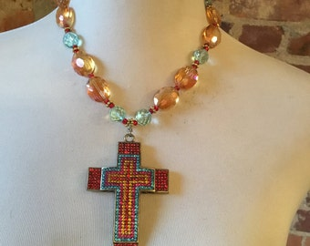 OOAK Quartz Statement Necklace w/Vintage Rhinestone Cross Pendant