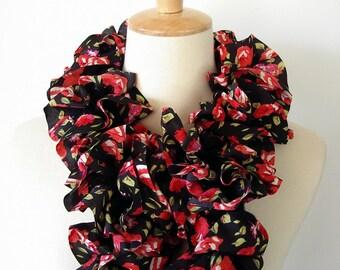 Red Rose Ruffle Scarf Print on Black Fashion Scarf Knit Polyester Organza Flirty Yarn