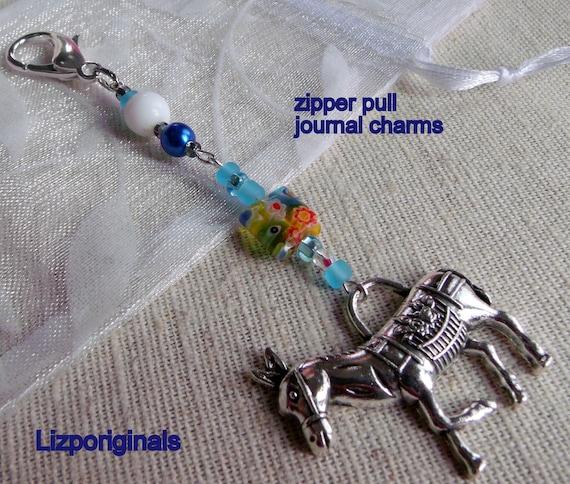 Horse zipper pull- journal charms - wild horse - equestrian gift  -donkey  clip art -  holiday present- horse lover -aqua beads - teen girl