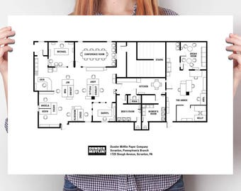 Floor plans etsy large the office floor plan poster the office blueprint the office tv show malvernweather Image collections