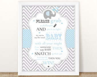 Baby Shower Elephant Don't say Baby Sign, Don't say Baby Game sign, Elephant Shower Printable Don't say Baby Game Signs, INSTANT DOWNLOAD